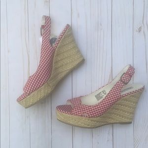 American Eagle Red Gingham Wedge Shoes 9.5 NWT